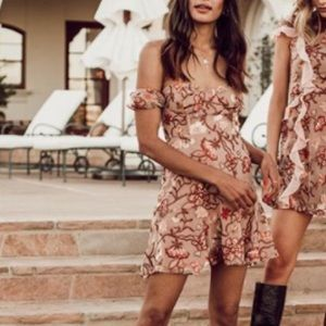 For Love and Lemons Botanic Embroidered Mini Dress
